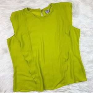 3 FOR $15! Worthington Chartreuse Ruffle Front Top